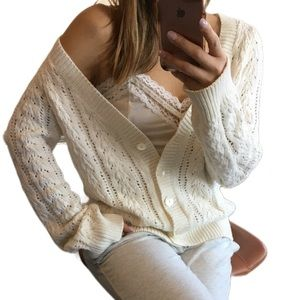 Nautica lightweight knit crochet cardigan sweater